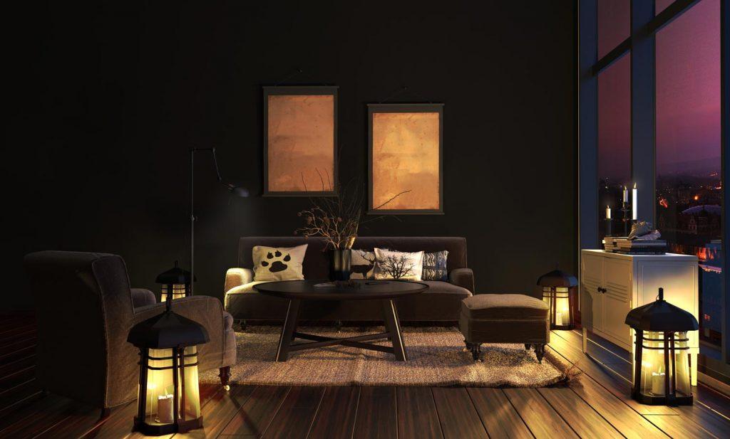 Wohnzimmer bei Nacht mit kerzen zur Entspannung